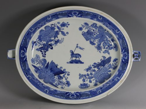 A Massive Blue and White Fitzhugh Armorial Hot Water Dish C1805