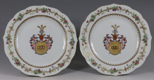 A Pair of Chinese Armorial Plates Qianlong C1750/60