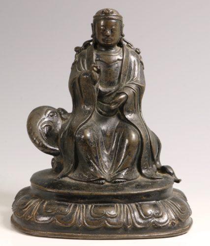 A Chinese Bronze Figure of Samantabhadra Ming 16thC