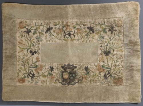 An Armorial Embroidered Pillow 17thC