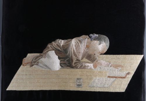 Japanese Silk Embroidered Panel Meiji