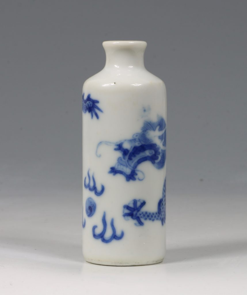 A Blue and White Dragon Snuff Bottle 19thC 4