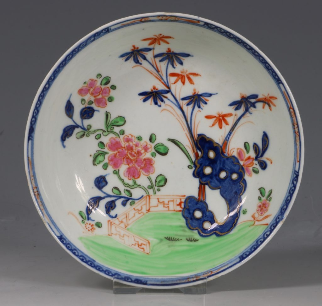 A Lowestoft Redgrave Pattern Tea Bowl and Saucer C1785 1