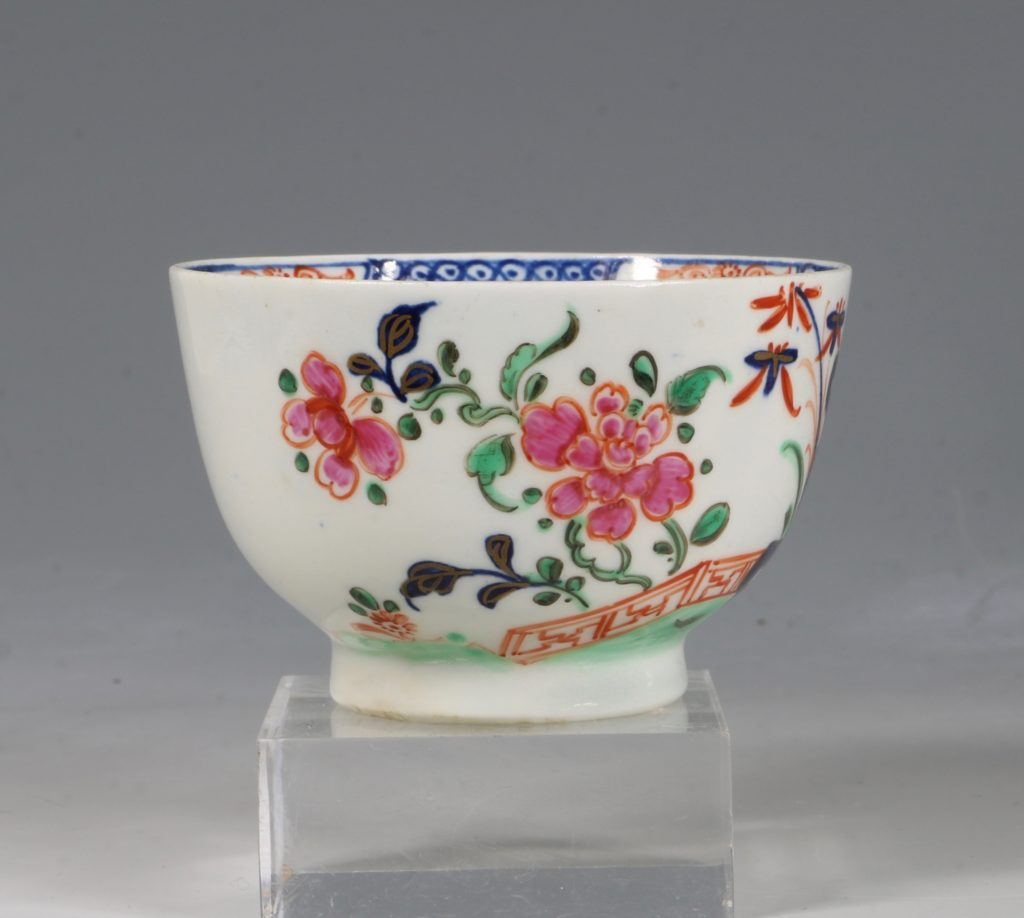 A Lowestoft Redgrave Pattern Tea Bowl and Saucer C1785 2
