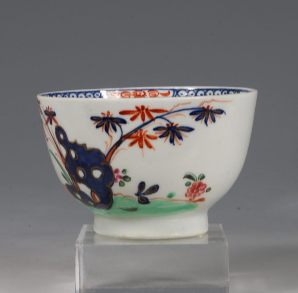 A Lowestoft Redgrave Pattern Tea Bowl and Saucer C1785 3