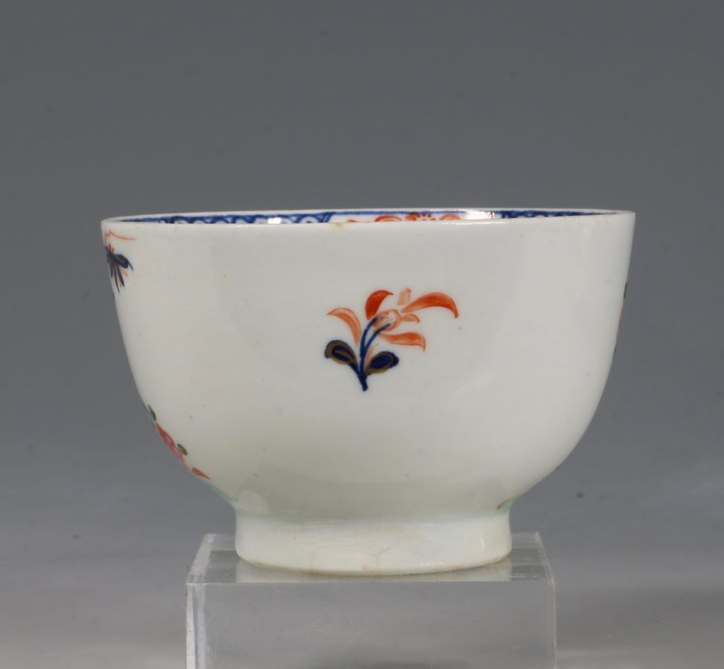 A Lowestoft Redgrave Pattern Tea Bowl and Saucer C1785 4