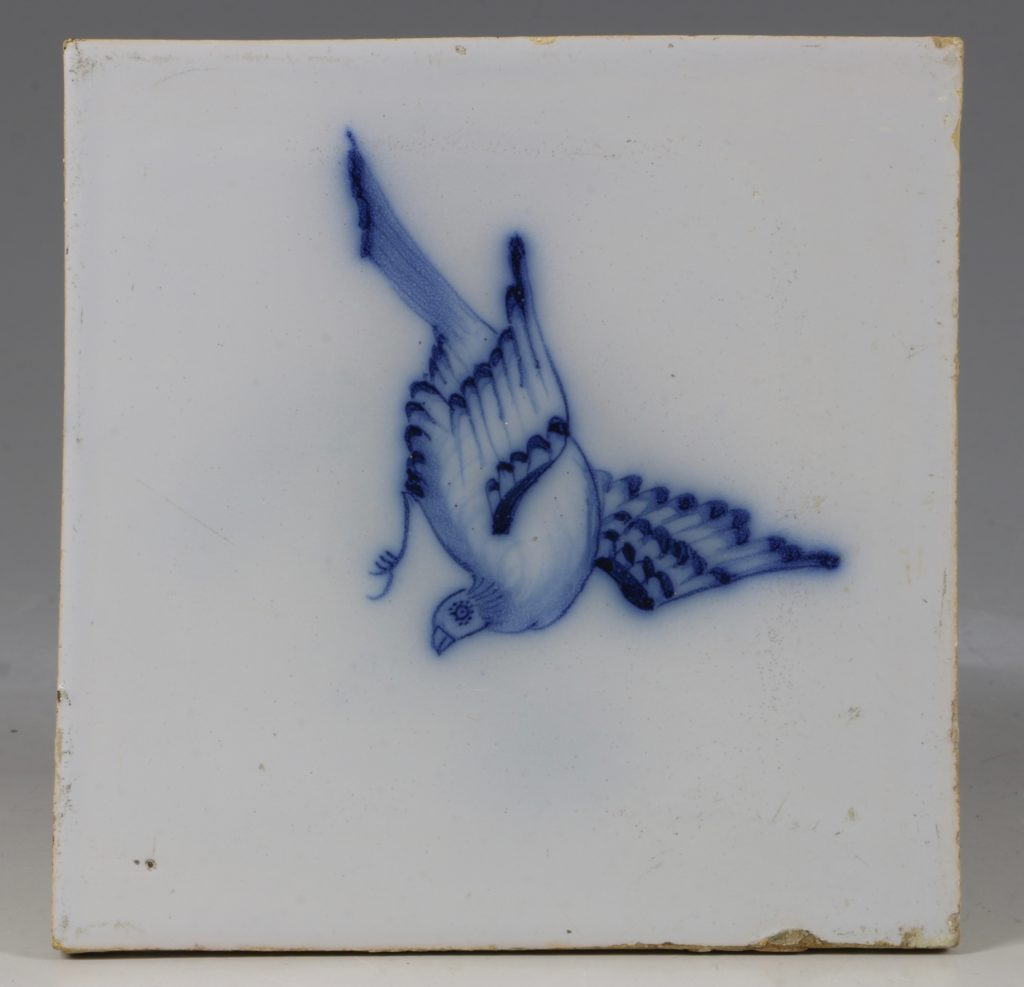 A English Delft Bird Tile C1750/70