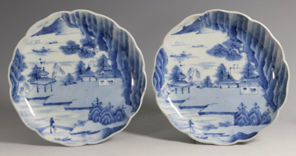 A Pair of Japanese Arita Blue and White Dishes L18thC