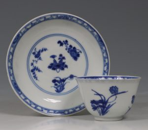 A Blue and White Tea Bowl and Saucer Kangxi C1700