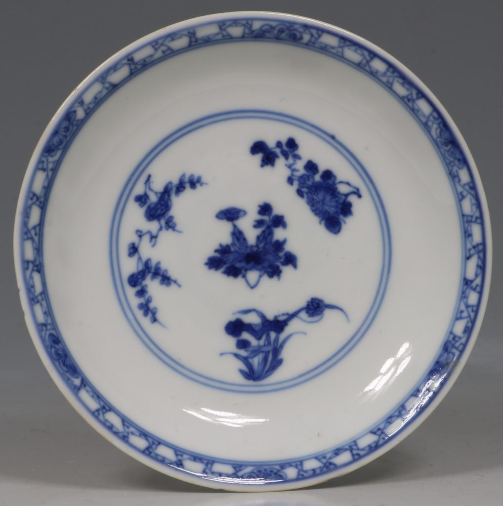 A Blue and White Tea Bowl and Saucer Kangxi C1700 1