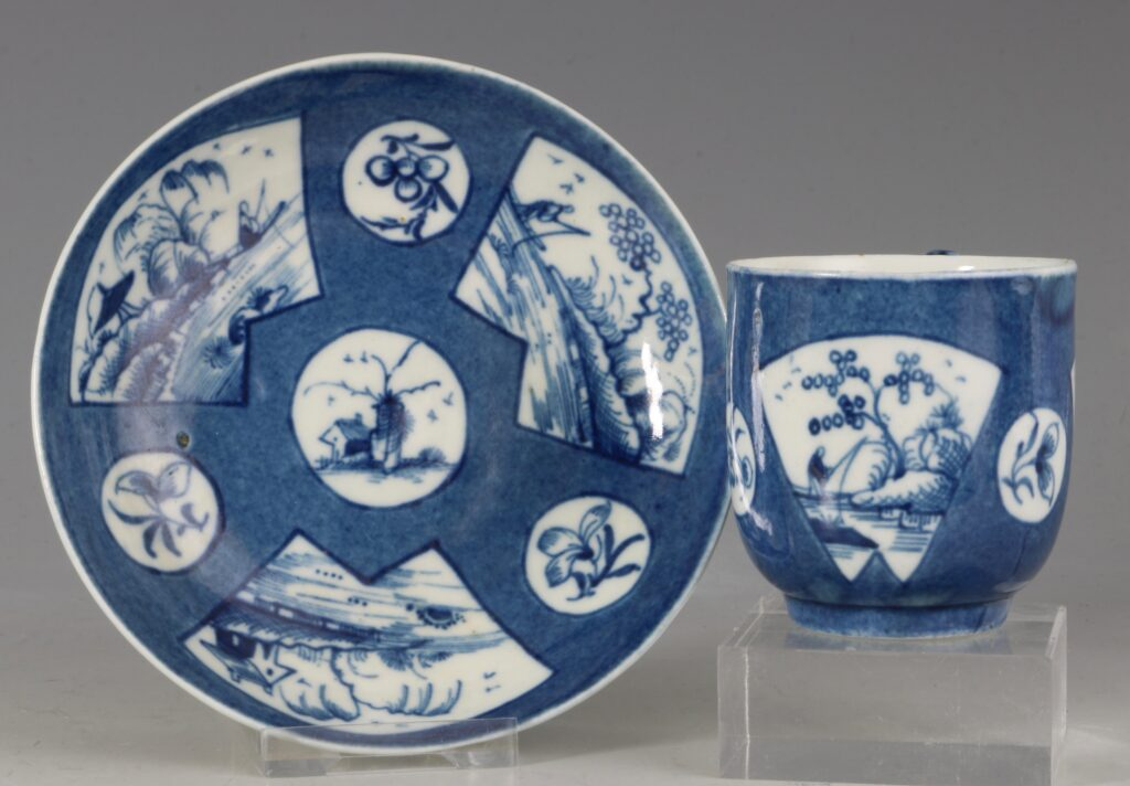 A Worcester Powder Blue Ground Cup and Saucer C1765/70
