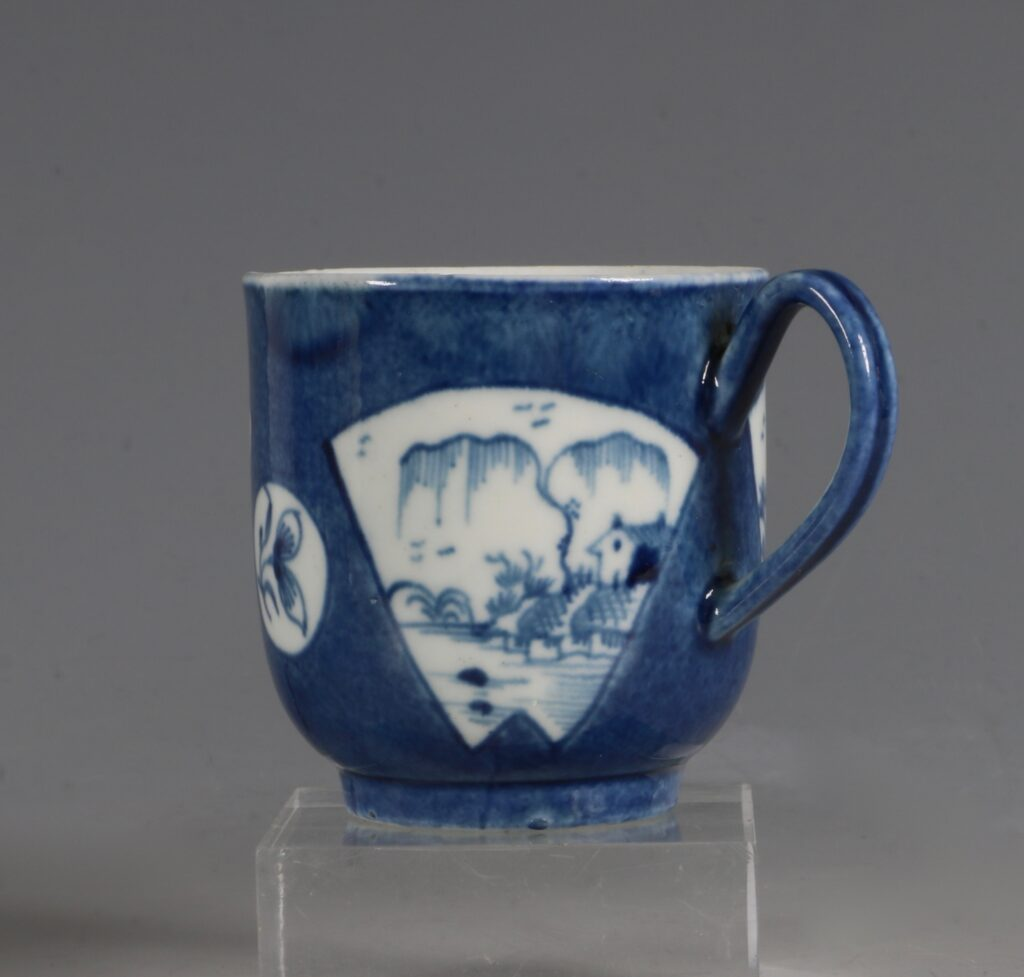 A Worcester Powder Blue Ground Cup and Saucer C1765/70 4