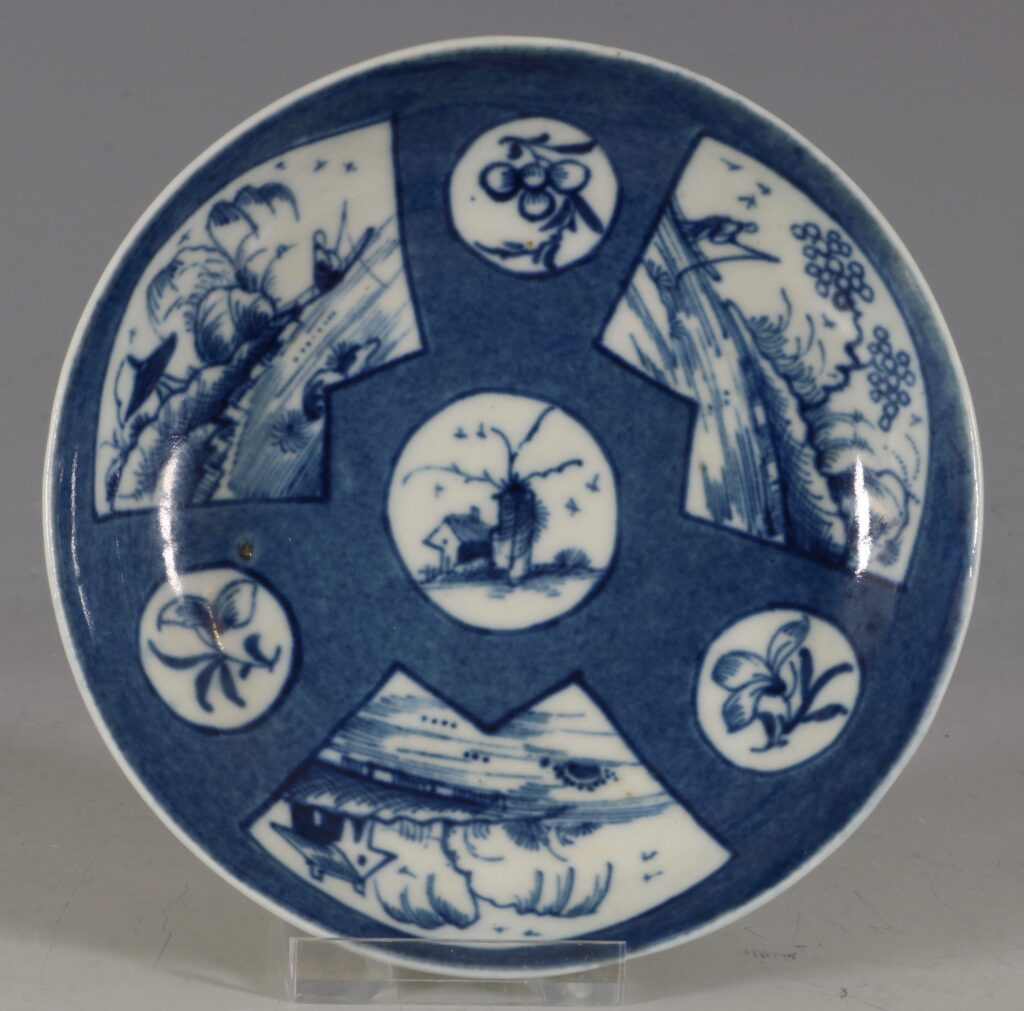A Worcester Powder Blue Ground Cup and Saucer C1765/70 6