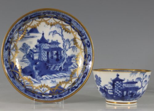 A London Gilded Chinese Tea Bowl and Saucer C1775-90