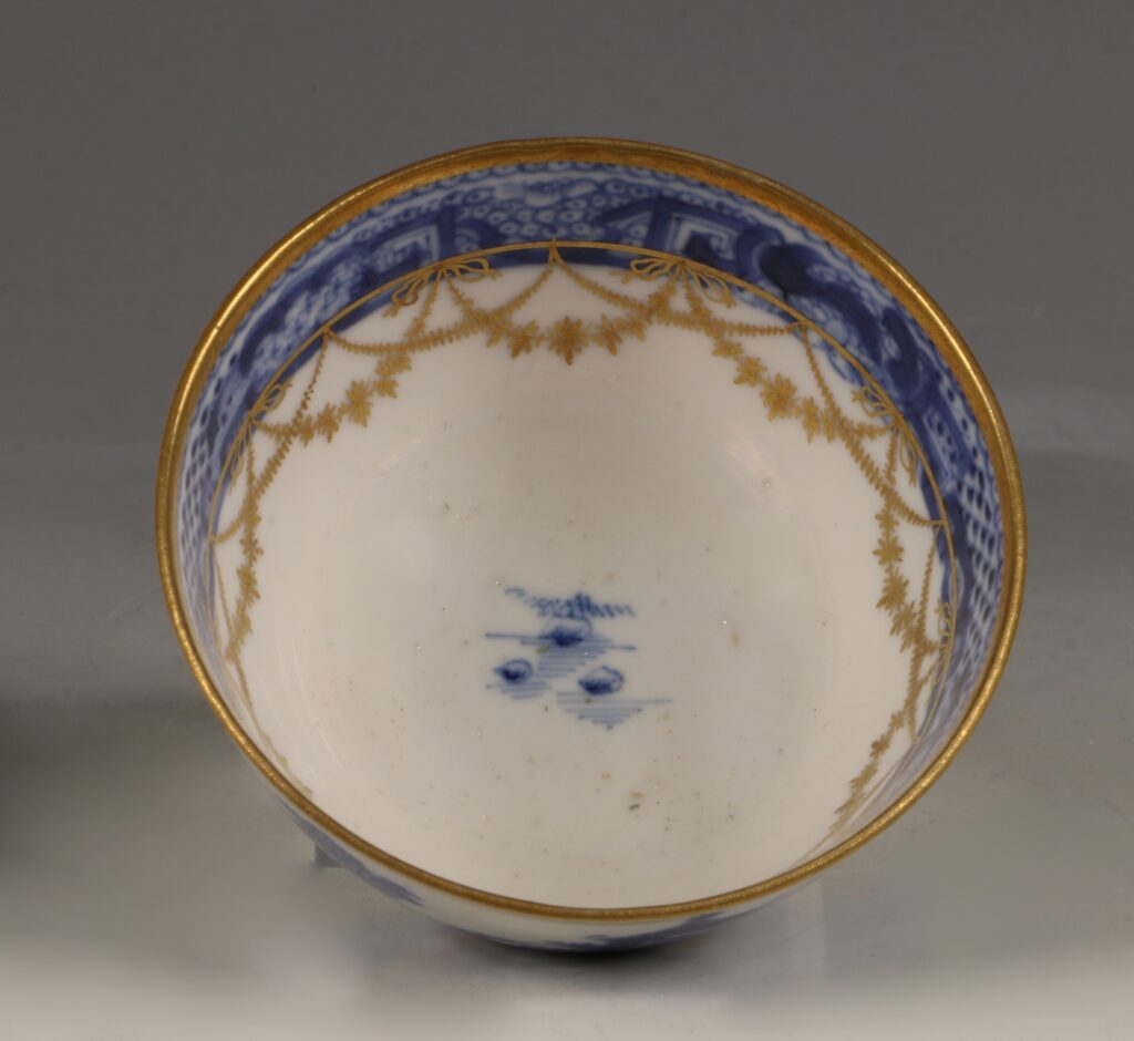 A London Gilded Chinese Tea Bowl and Saucer C1775-90 6