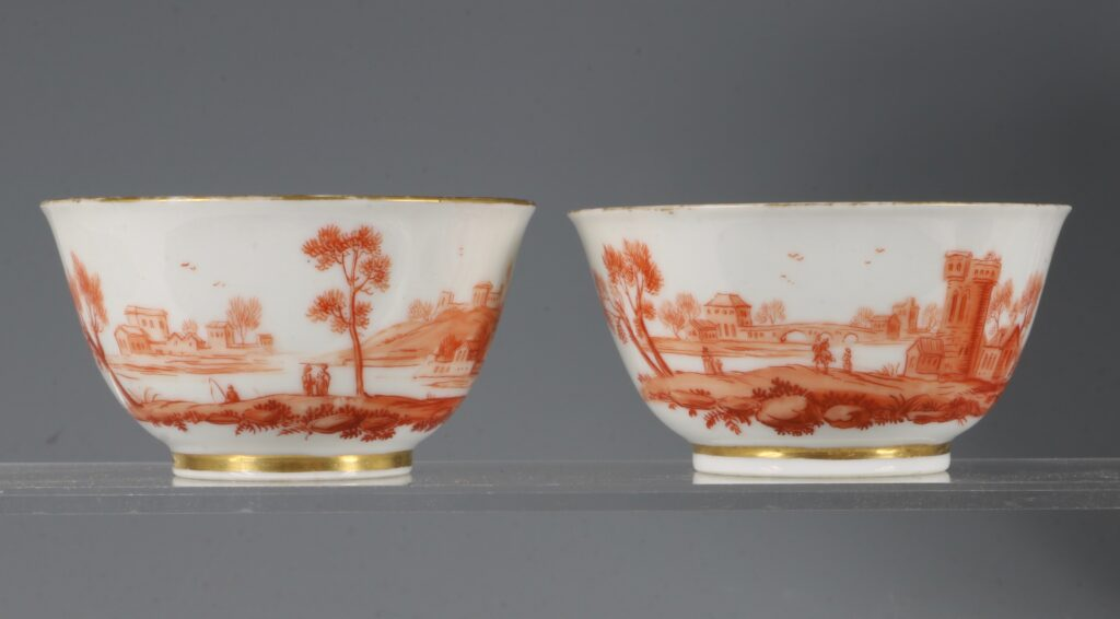 A Rare Pair of London Decorated Chinese Tea Bowls C1758-63 Probably James Giles 1