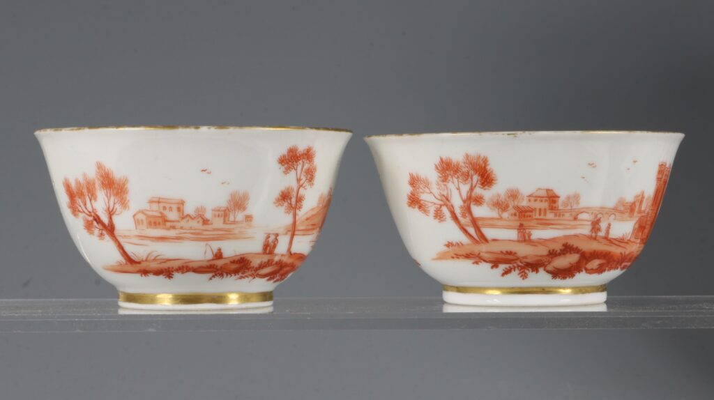 A Rare Pair of London Decorated Chinese Tea Bowls C1758-63 Probably James Giles 2