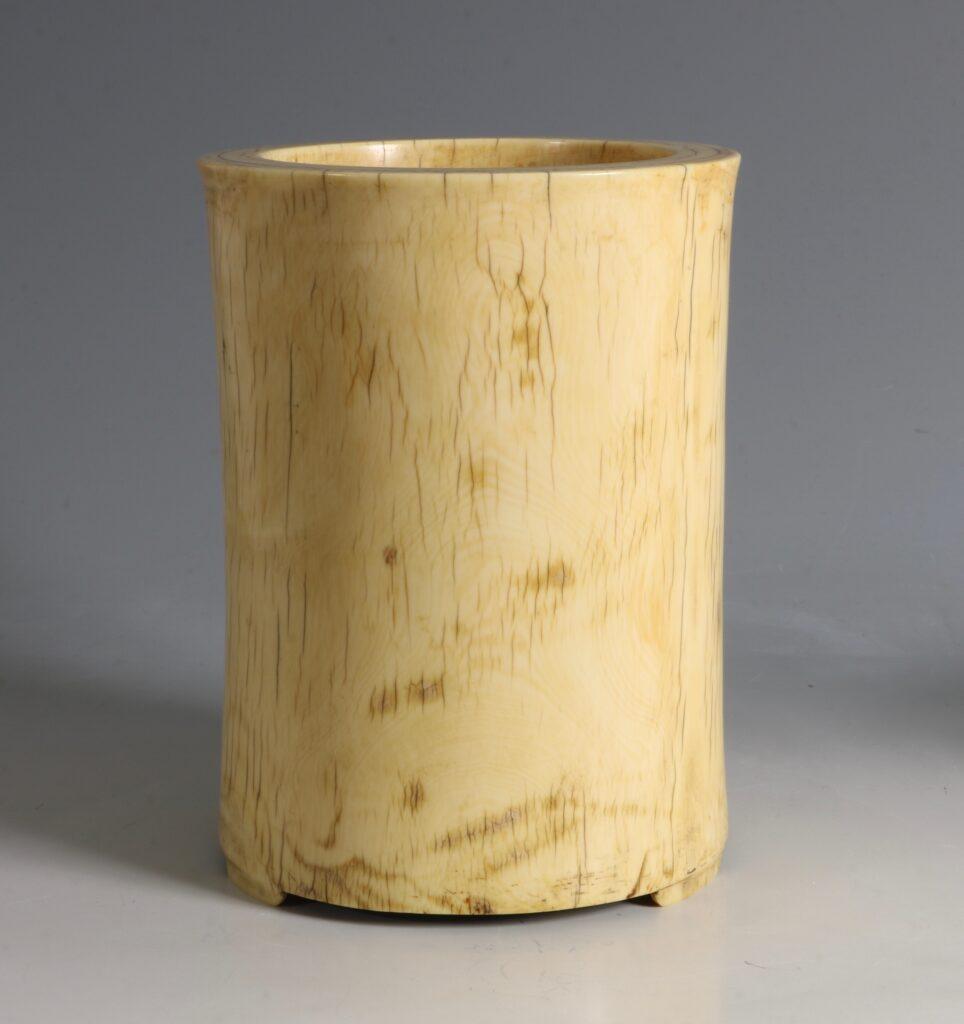 A Chinese Ivory Brush Pot 17/18thC 5