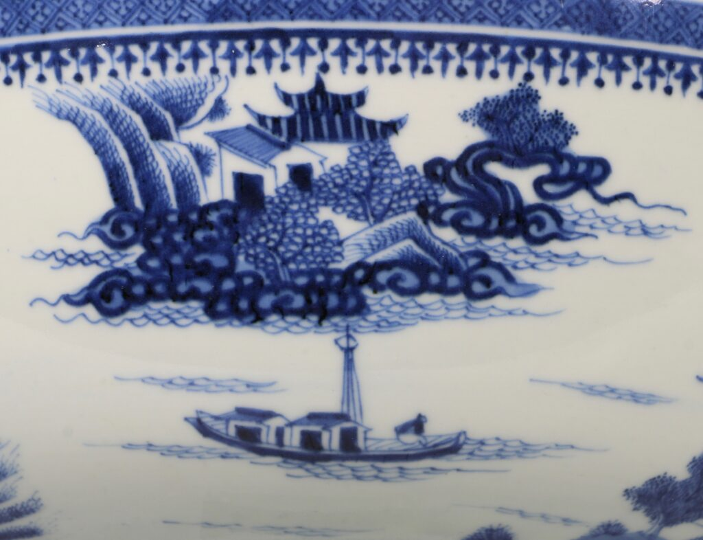 A Finely Decorated Large Blue and White Bowl Qianlong 7