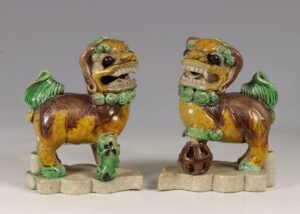 A Pair of Biscuit Dogs of Fo Kangxi 17/18thC