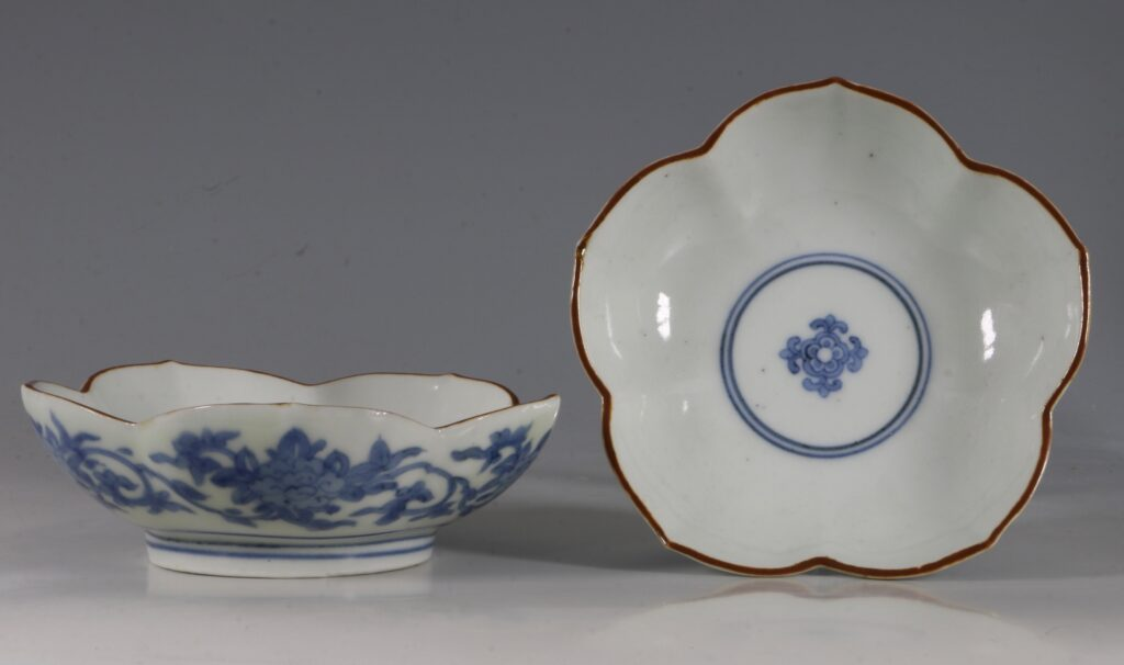 A Pair of Small Arita Blue and White Dishes L17thC 1