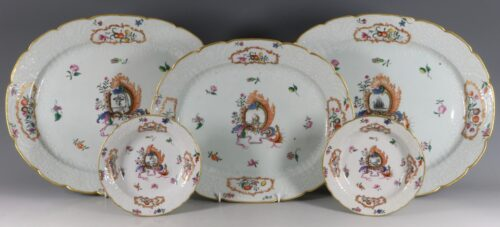 A Group Meissen Style Pseudo Armorial Dishes Qianlong