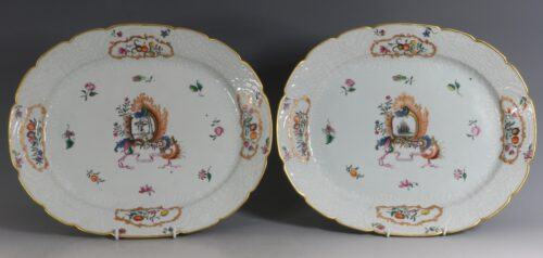 A Pair of Large Meissen Style Pseudo Armorial Oval Dishes Qianlong