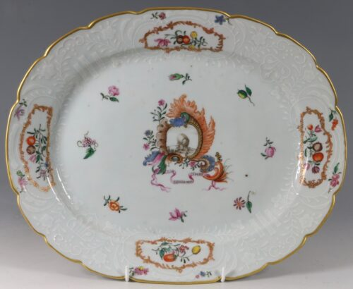 A Meissen Style Pseudo Armorial Oval Dish Qianlong C1760