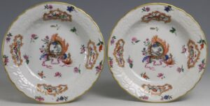 A Pair of Small Meissen Style Pseudo Armorial Dishes Qianlong C1760