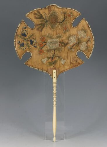 A Rare Pair of Huron Moose Hair Embroidered Birch Bark Fans 1840's