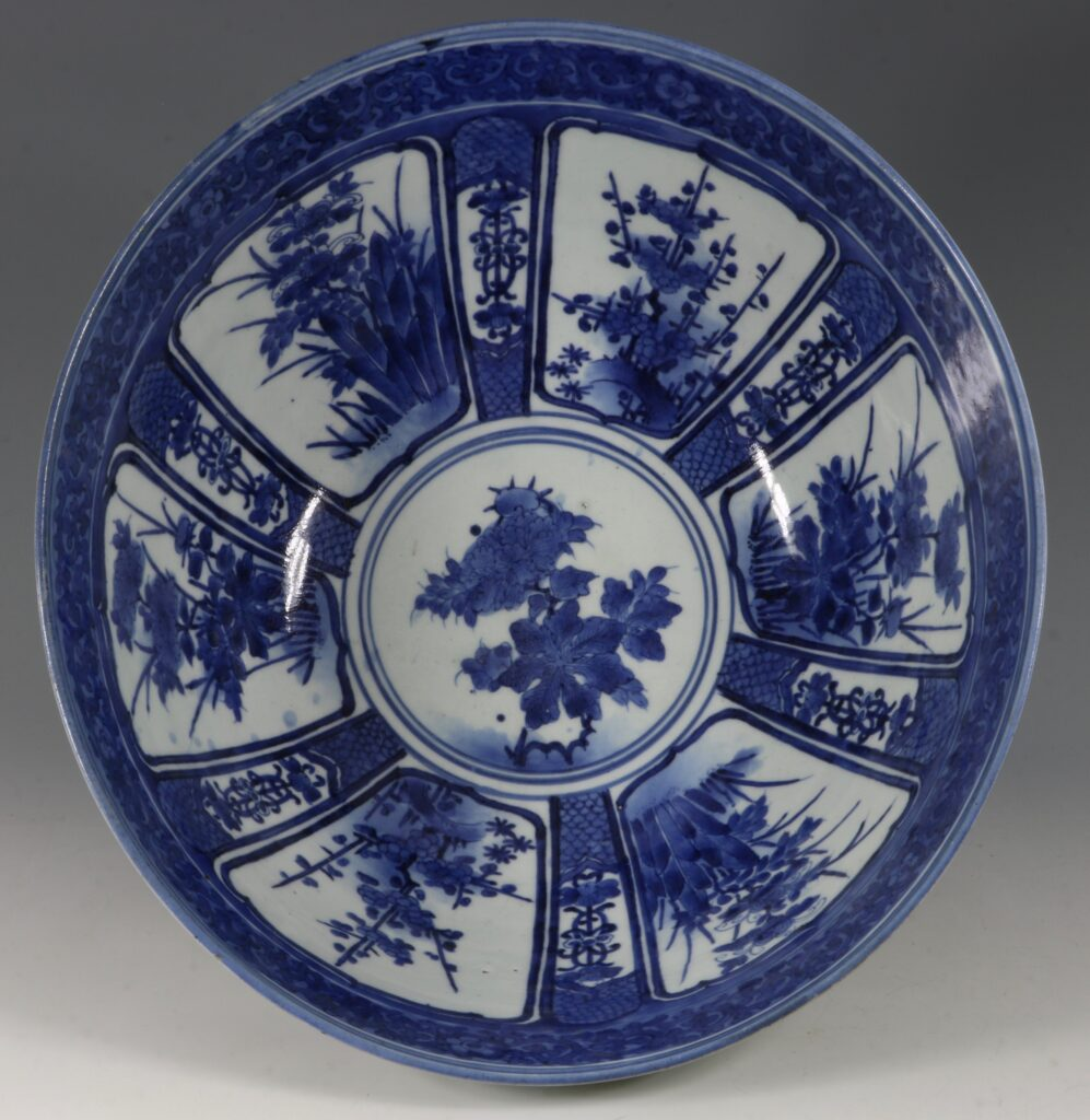 A Fine and Large Early Japanese Arita Blue and White Bowl 17thC