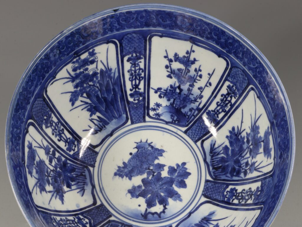 A Fine and Large Early Japanese Arita Blue and White Bowl 17thC 1