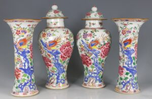 A Garniture of Famille Rose Vases Yongzheng/Qianlong