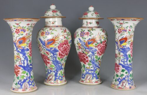 A Garniture of Famille Rose Vases Yongzheng/Qianlong