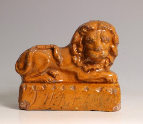 An English Pottery Lion Dated 181?