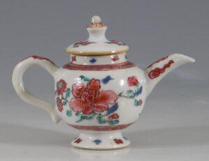 A Rare Miniature Famille Rose Teapot C1740