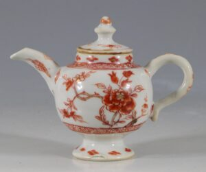 A Rare Iron Red Decorated Miniature Teapot and Cover C1730/40