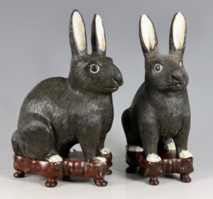 A Pair of Chinese Export Figures of Rabbits 19thC