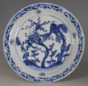 A Japanese Market Ko-Sometsuke Blue and White Dish Late Ming