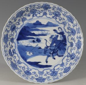 A Blue and White Hunting Dish Kangxi