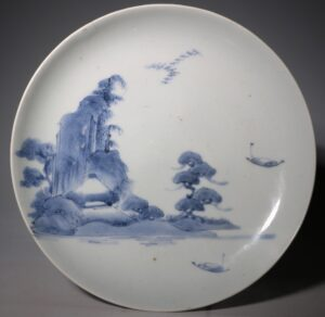 An Arita Blue and White Saucer Dish 17thC