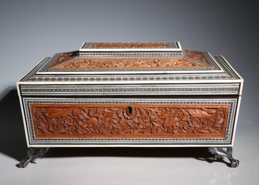 An Anglo Indian Sandlewood and Sadeli Sewing Box C1855 1