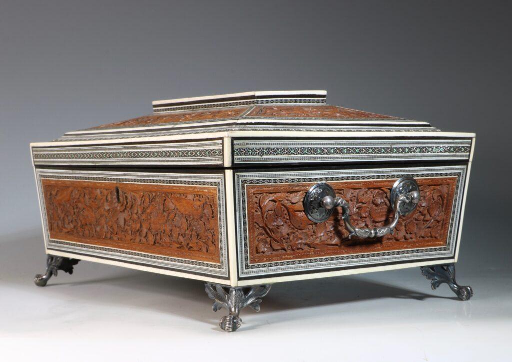 An Anglo Indian Sandlewood and Sadeli Sewing Box C1855 2