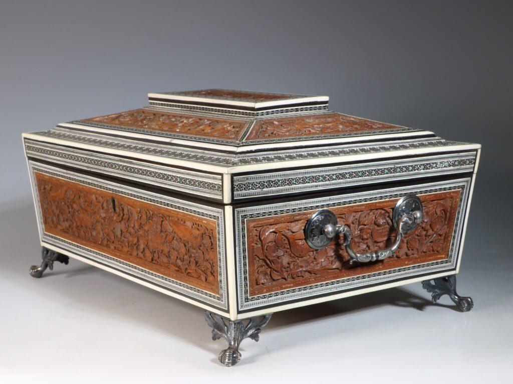 An Anglo Indian Sandlewood and Sadeli Sewing Box C1855 3