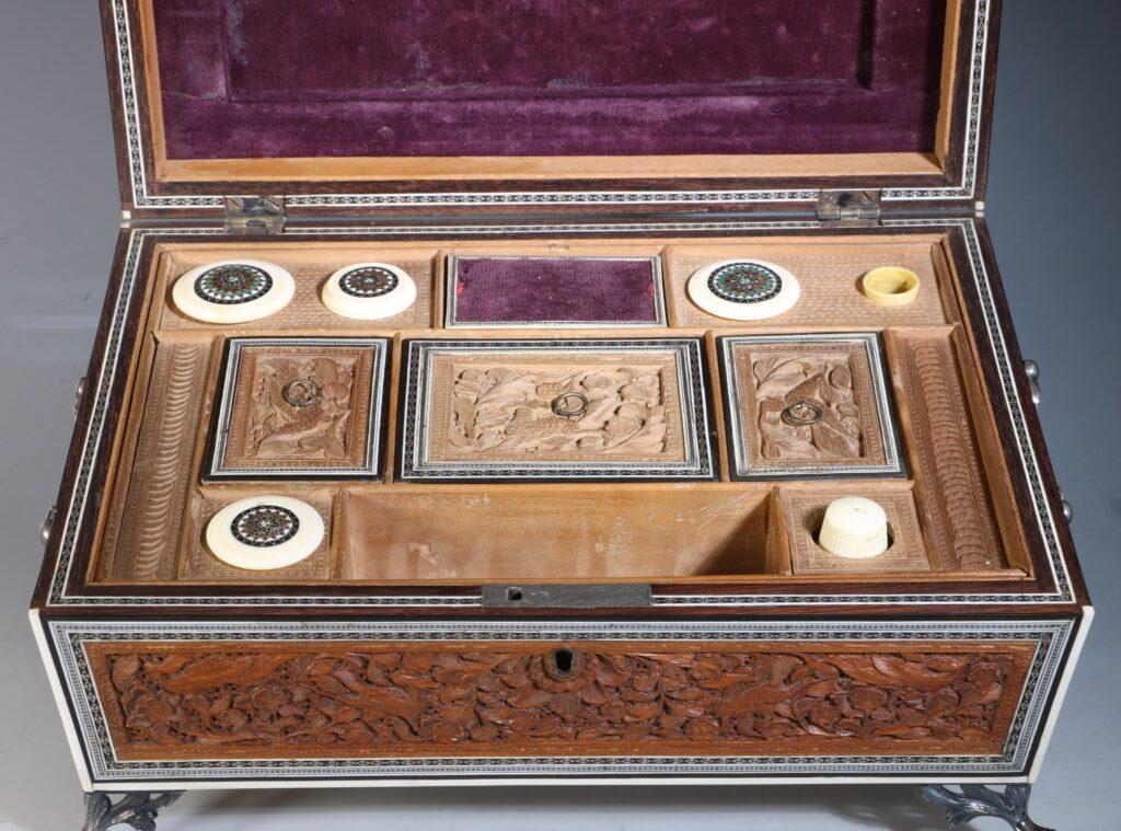 An Anglo Indian Sandlewood and Sadeli Sewing Box C1855 10