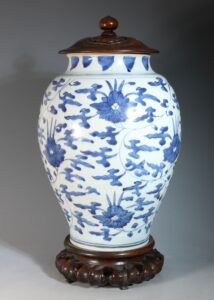 A Transitional Blue and White Vase Mid 17thC