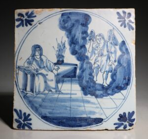 An English Delft Biblical Tile C1750