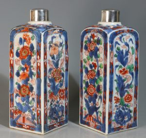 A Pair of Verte Imari Gin Flasks Kangxi E18thC