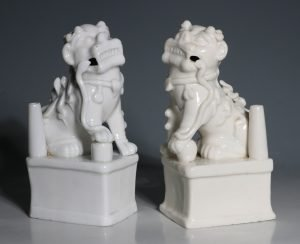 A Pair of Blanc de Chine Dogs of Fo Kangxi C1700