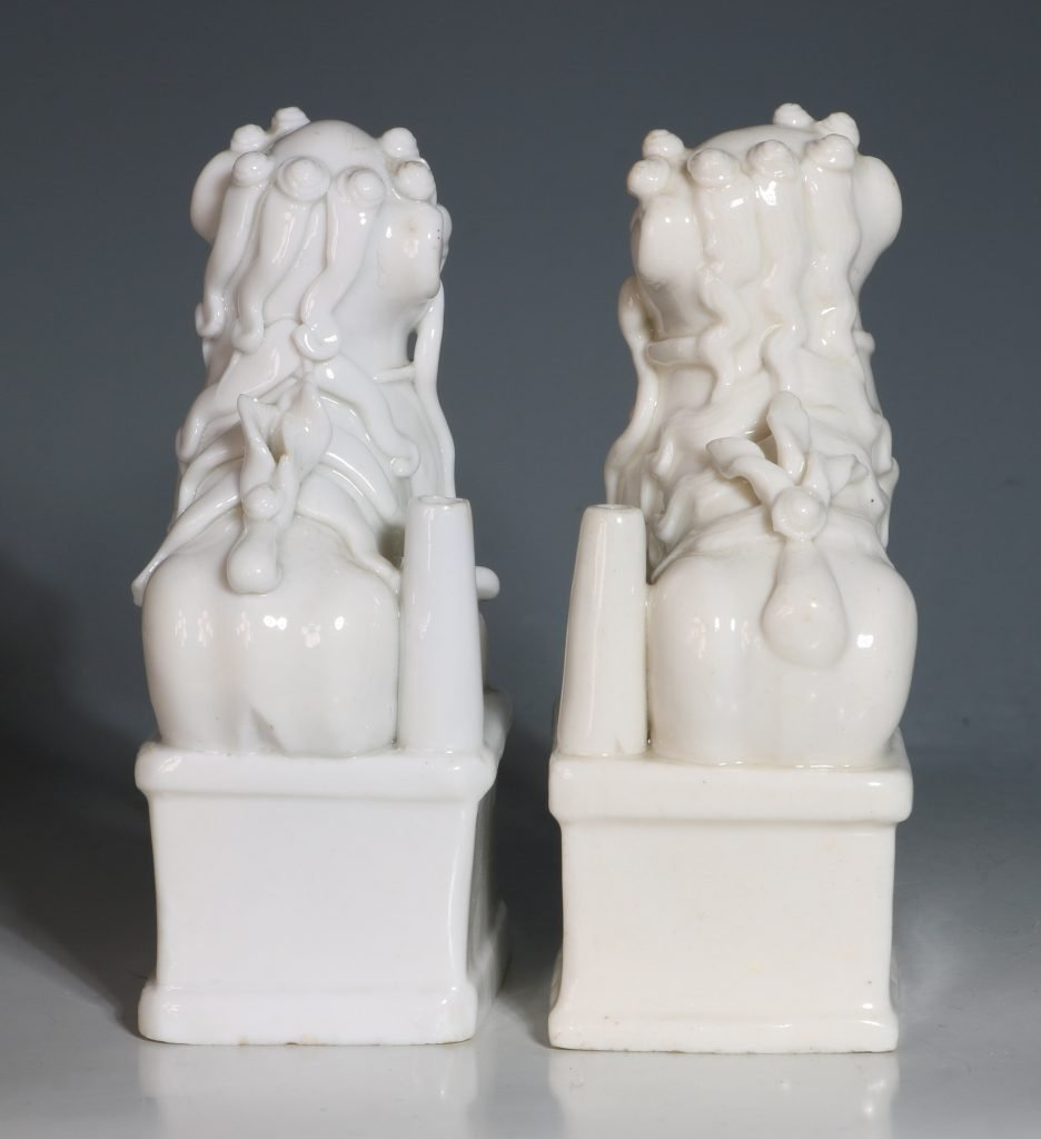 A Pair of Blanc de Chine Dogs of Fo Kangxi C1700 5